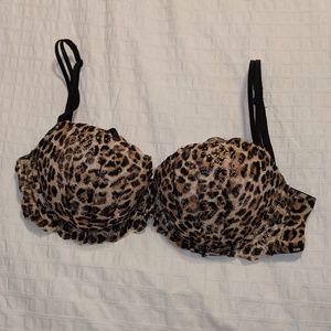 36D Leopard print lace push up bra